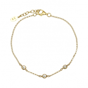 Bracelet silver 925 yellow gold plated with zirconia - Simply Me