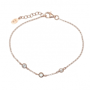 Bracelet silver 925 pink gold plated & with zirconia - Simply Me