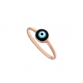 Ring silver 925 pink gold plated & with enamel evil eye - Wish Luck