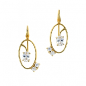 Earrings in silver 925 yellow gold plated with crystals - Color Me