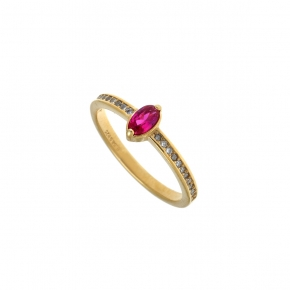 Ring silver 925 yellow gold plated with crystals and zirconia - Simply Me