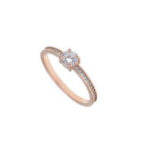 Ring silver 925 rose gold plated with zirconia - Simply Me