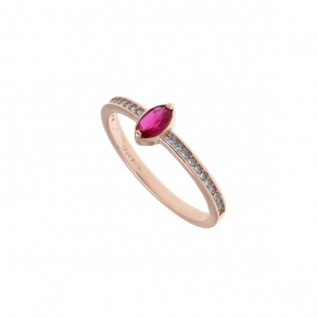 Ring silver 925 rose gold plated with crystals and zirconia - Simply Me