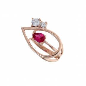 Ring silver 925 rose gold plated with crystals - Color Me