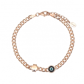 Bracelet silver 925 pink gold plated with enamel evil eye - WANNA GLOW