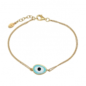 Bracelet silver 925 yellow gold plated with enamel evil eye - Wish Luck