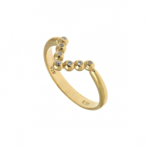 Ring Silver 925 yellow gold plated with white zirconia - Simply Me