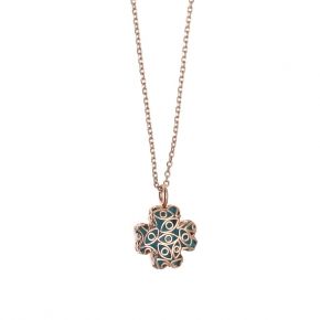 Necklace silver 925 pink gold plated with enamel - Color Me
