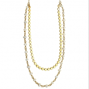 Necklase silver 925 gold plated with fresh water pearls - Color Me
