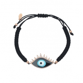 Bracelet silver 925 pink gold plated with enamel evil eye and cord - Wish Luck