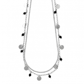 Necklace metal rhodium plated with synthetic stones - Funky Metal
