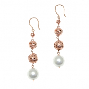 Earings silver 925 rose gold plated with pearl and rose lava beads - Color Me