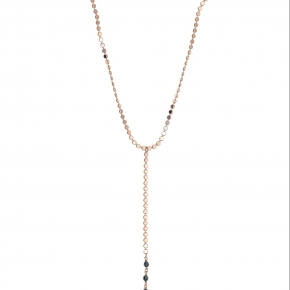 Necklace silver 925 pink gold plated with onyx - Color Me