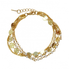 Bracelet metal yellow gold plated with synthetic stones - Funky Metal