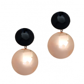 Earings bronge pink gold plated with enamel - Color Me