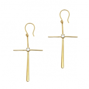Earrings silver 925 gold plated & with white zirconia - Funky Metal