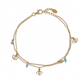Bracelet silver 925 gold plated, with white zirconia - Simply Me