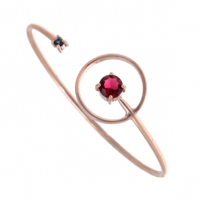 Bracelet silver 925 pink gold plated with zirconia - Color Me