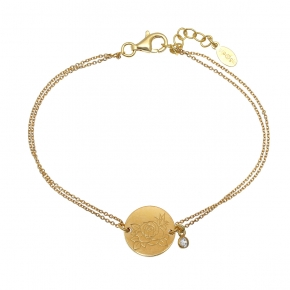 Bracelet silver 925 yellow gold plated with white zirconia - Simply Me