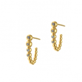 Earings  silver 925 yellow gold plated with white zirconia - Simply Me