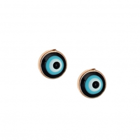 Earings silver 925 pink gold plated with enamel evil eye - Wish Luck