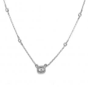 Necklace silver 925 rhodium plated  with wtite zirconia - Simply Me