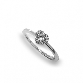 Ring silver 925 rhodium plated with white Zirconia - Simply Me