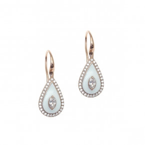 Earrings silver 925 rose gold plated with enamel and white zirconia - Color Me