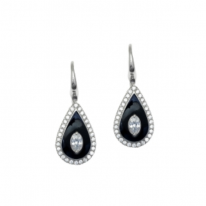 Earrings silver 925 rhodium plated with enamel and white zirconia - Color Me