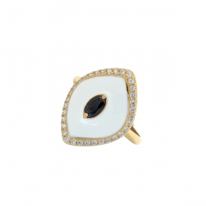 Ring silver 925 gold plated with enamel and zirconia - Color Me