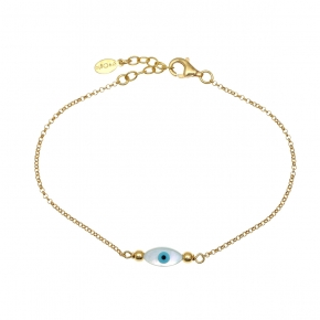 Bracelet silver 925 yellow gold plated with an eye out of fildisi - Wish Luck