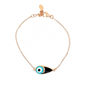 Bracelet silver 925 rose gold plated with enamel evil eye - Wish Luck