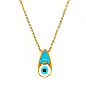 Necklace silver 925 yellow gold plated with enamel evil eye - Wish Luck