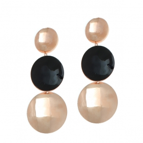 Earrings bronge pink gold plated with enamel (length 7cm) - Color Me