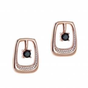 Earings silver 925 rose gold plated with white zirconia - WANNA GLOW