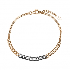 Bracelet silver 925 rose gold plated with black rhodium plating - Funky Metal