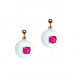 Earings silver 925 pink gold plated with enamel and zirconia - Color Me