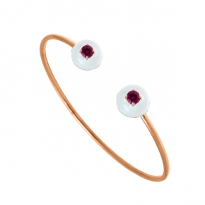 Bracelet silver 925 pink gold plated with enamel and zirconia - Color Me
