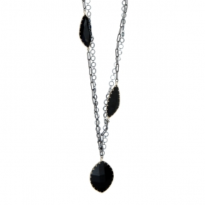 Necklace metal black rhodium plated with synthetic stones - Funky Metal