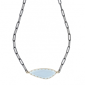 Necklace bronge black rhodium plated with synthetic stones - Funky Metal