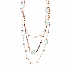 Necklace bronge rose gold plated with synthetic stones - Funky Metal