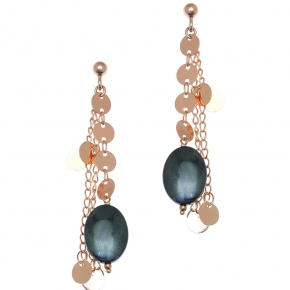 Earings bronge rose gold plated with synthetic stones - Funky Metal
