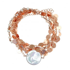 Bracelet bronge rose gold plated with synthetic stones - Funky Metal
