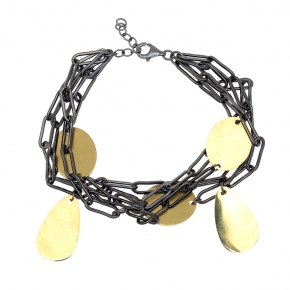 Bracelet metal black rhodium & yellow gold plated - Funky Metal