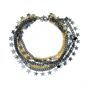 Bracelet metal black rhodium plated with yellow gold plated - Funky Metal
