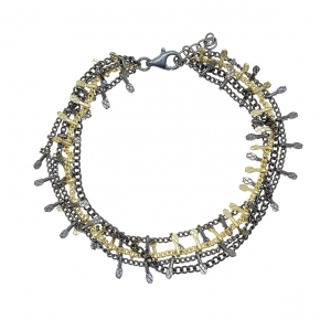 Bracelet bronge black rhodium plated with yellow gold plated - Funky Metal