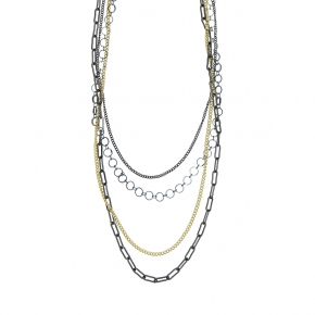 Necklase bronge black rhodium plated with yellow gold plated - Funky Metal