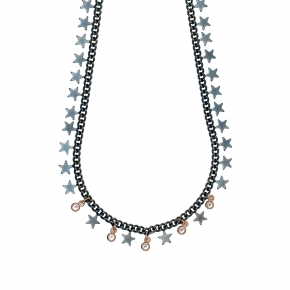 Necklase bronge black rhodium plated with rose gold plated - Funky Metal