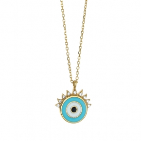 Necklace silver 925 yelloe gold plated with enamel evil eye - Wish Luck