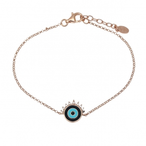 Bracelet silver 925 pink gold plated with enamel evil eye - Wish Luck